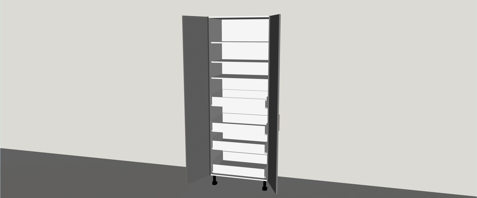 Tall inner drawer pantry 2 door 800mm wide Pantry 800mm